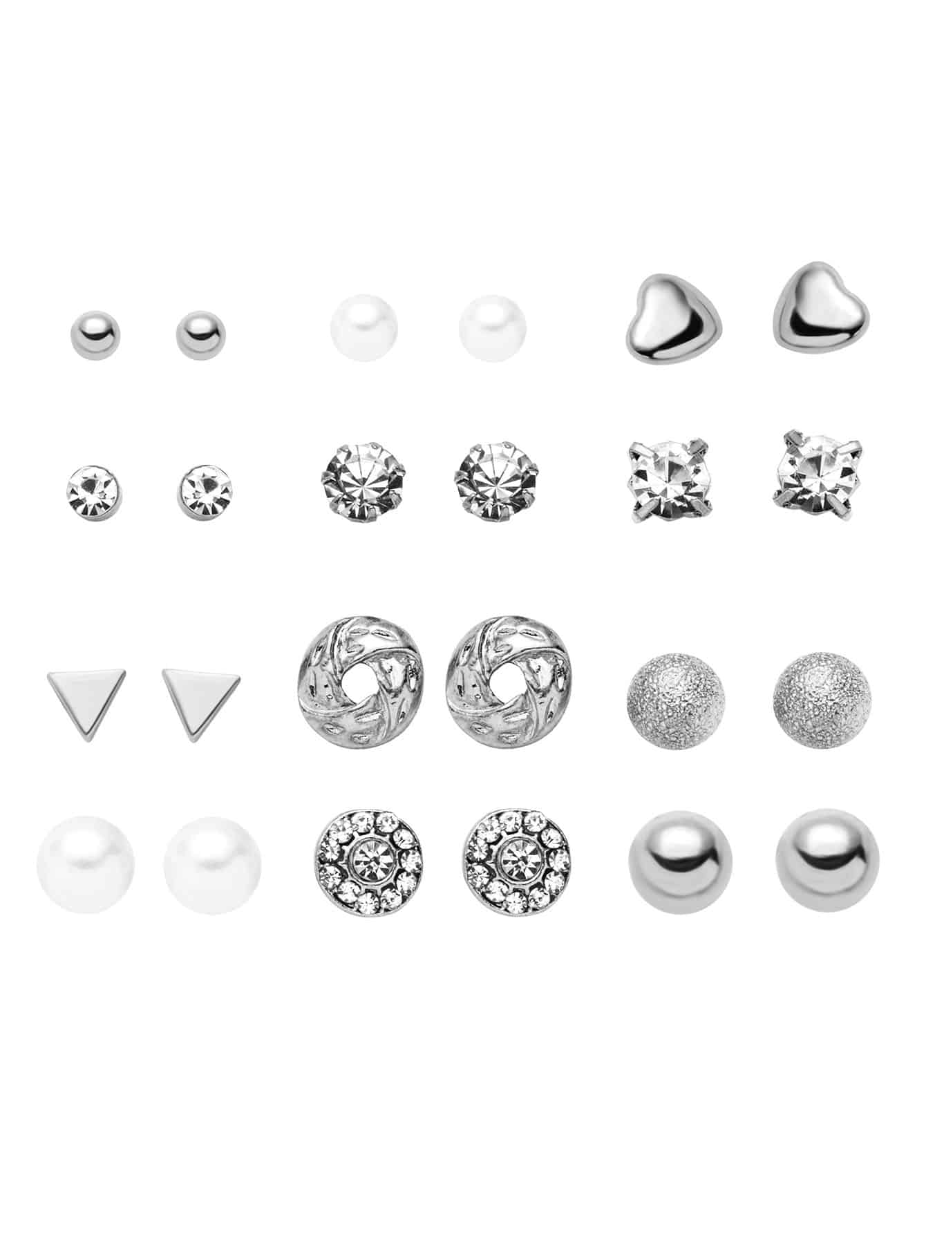 Silver Plated Rhinestone Geometric Stud Earrings Set silver plated bar dangle drop earrings
