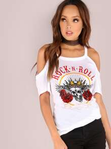 Cold Shoulder Rock N Roll Graphic Tee