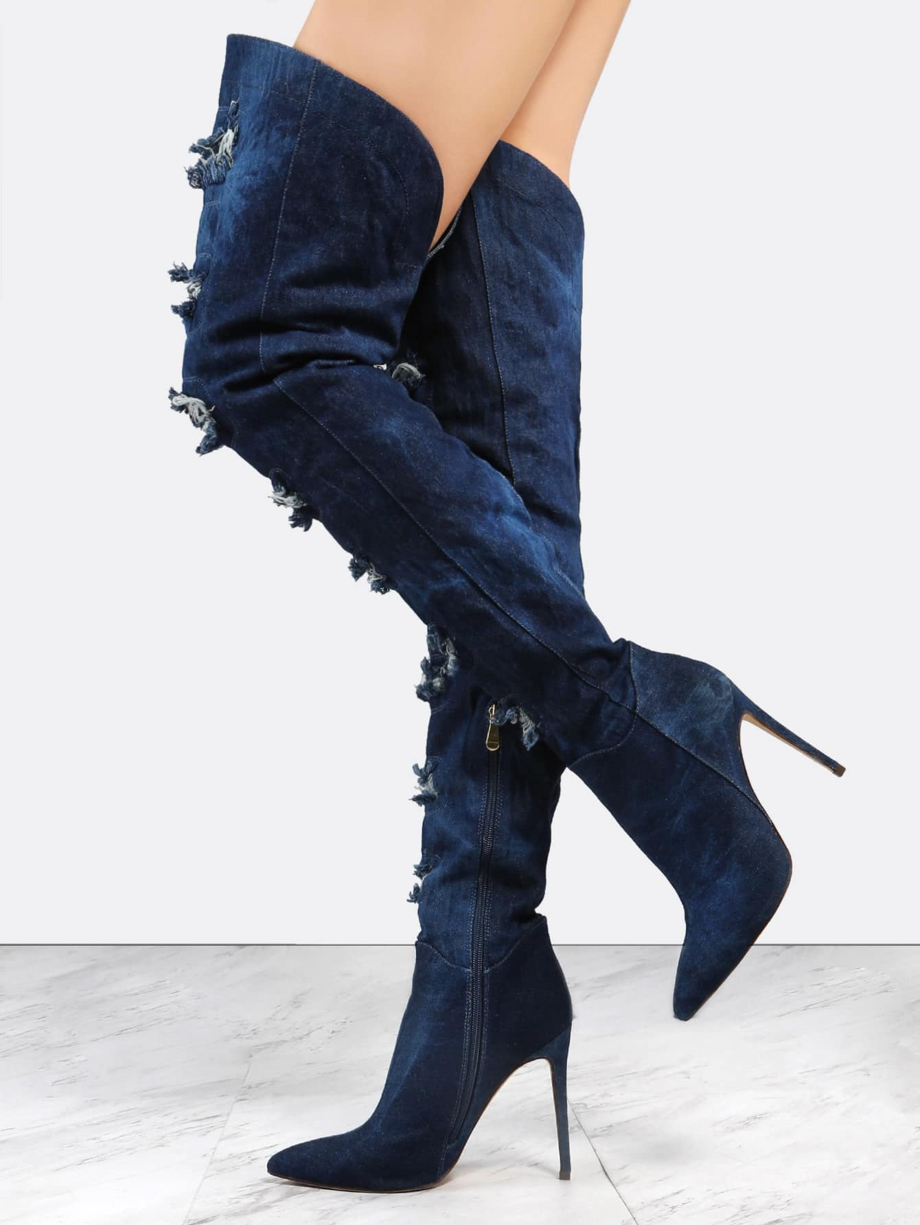 Фото Distressed Stiletto Thigh High Boots DARK DENIM. Купить с доставкой