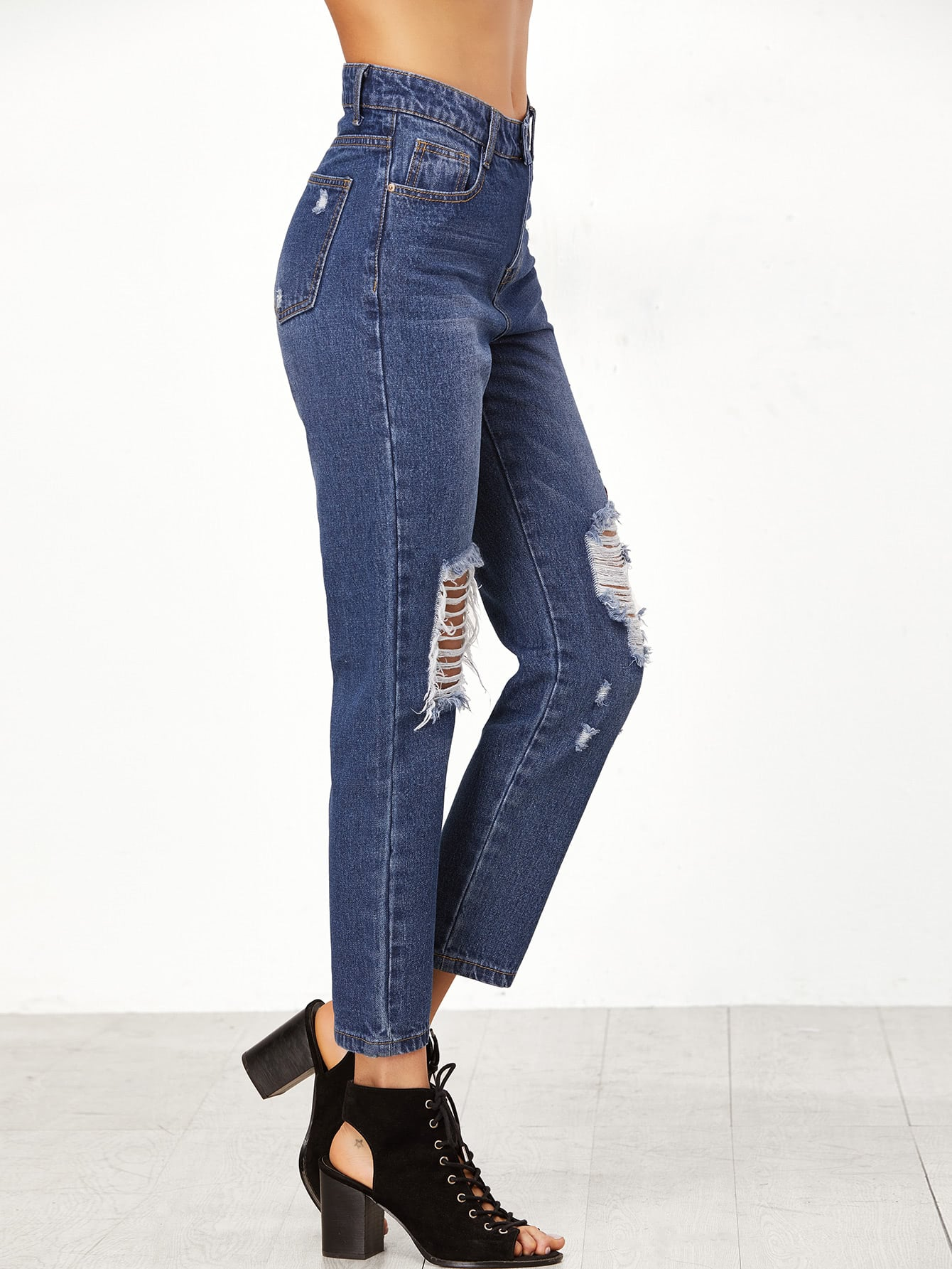 Embroidered rose applique distressed jeans shein sheinside