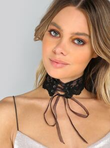 Sheer Lace Corset Necklace BLACK