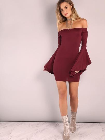 Burgundy Oversized Bell Sleeve Off The Shoulder Dress