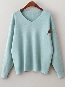 Blue V Neck Drop Shoulder Loose Sweater With Brooch