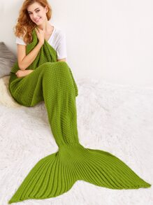 Army Green Solid Color Knit Textured Mermaid Blanket