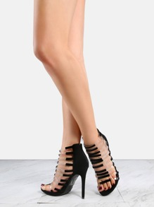 Strappy Caged Open Toe High Heels BLACK