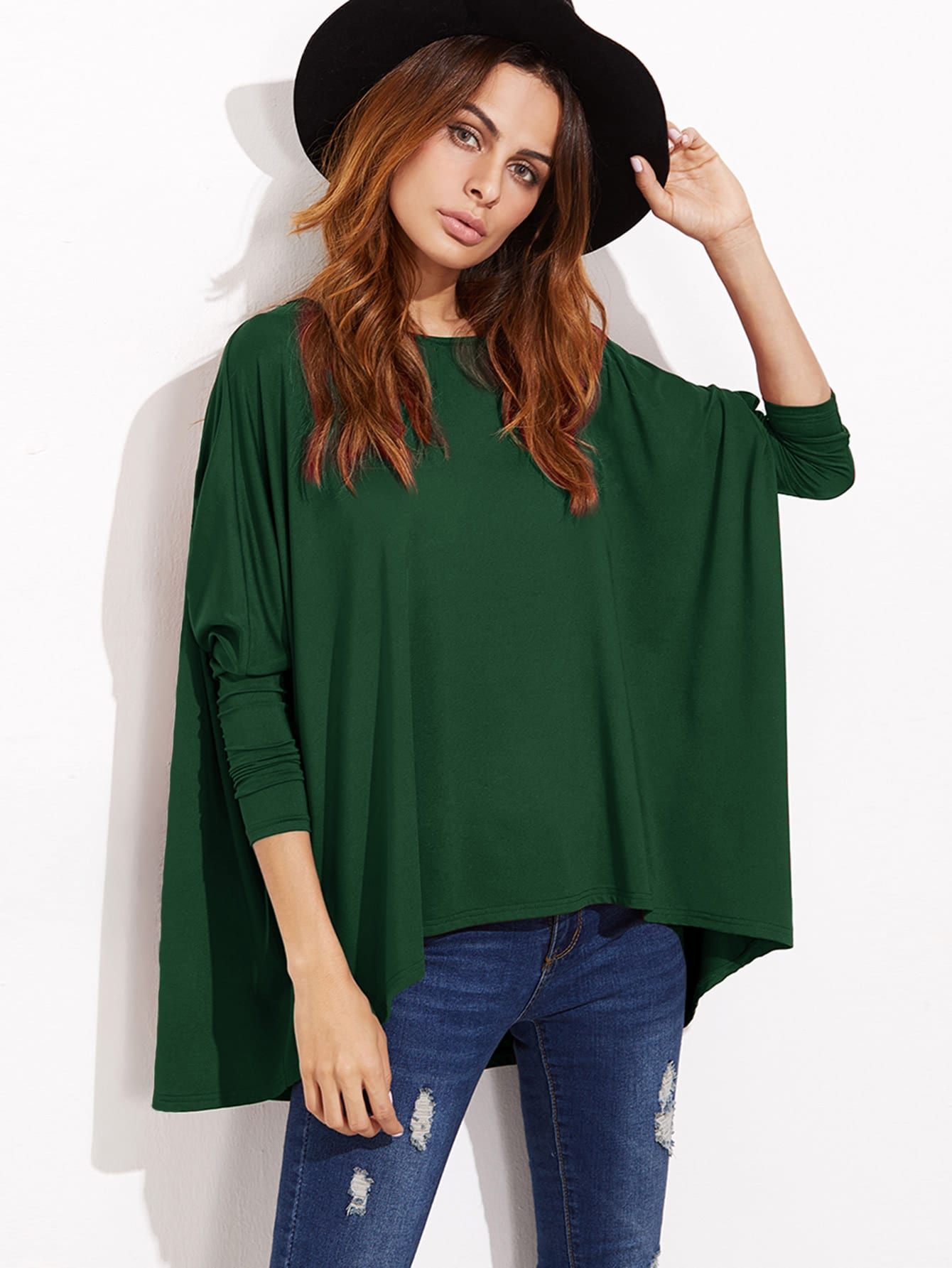 Boat Neckline Oversized Dolman Sleeve Tee boat neckline striped blouse with buttons