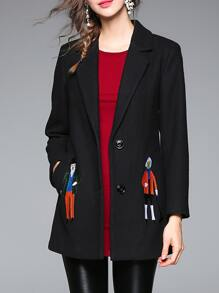 Black Lapel Character Embroidered Pockets Coat