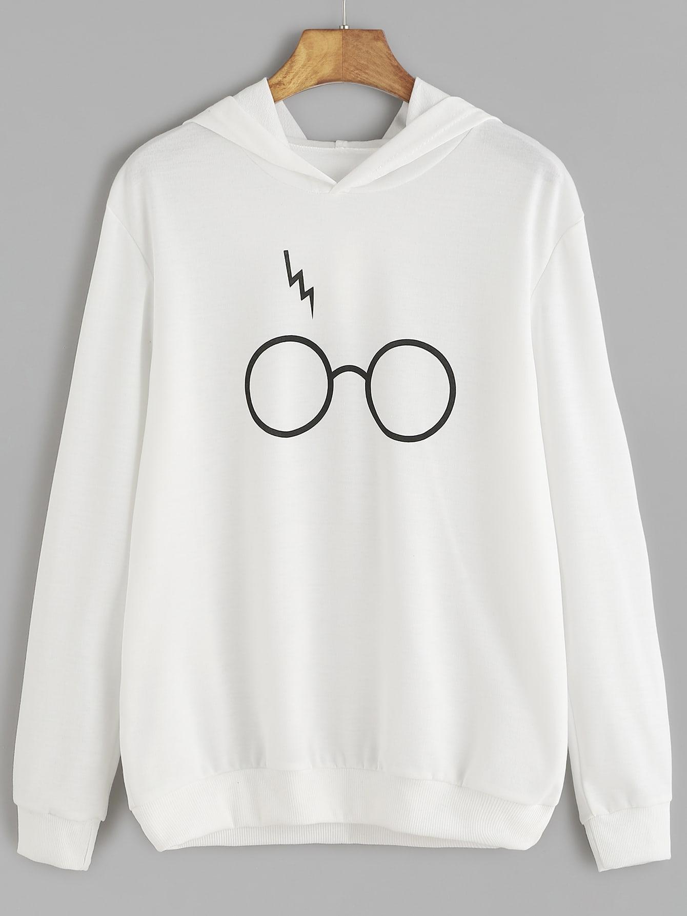 White Eyeglass Print Hooded SweatshirtWhite Eyeglass Print Hooded Sweatshirt<br><br>color: White<br>size: L,S,XL
