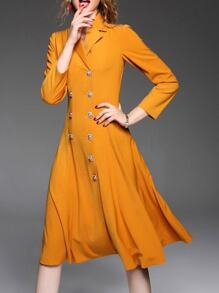 Orange Lapel A-Line Dress Coat