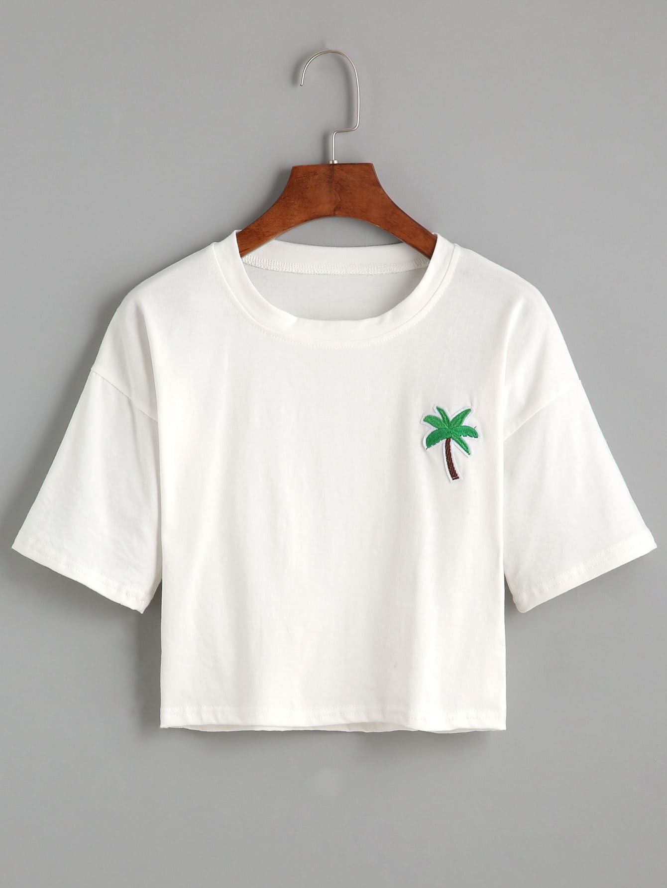 White palm tree embroidered patch crop t shirt shein
