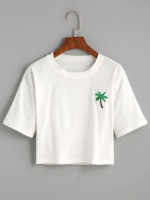White Palm Tree Embroidered Patch Crop T-shirt
