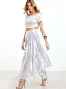 Metallic Silver Band Waist Asymmetric Skirt