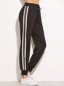 Black Mesh Insert Striped Side Drawstring Sweatpants