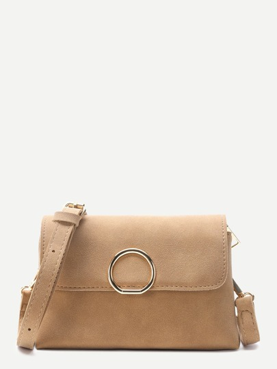 Khaki Nubuck Leather Flap Shoulder Bag