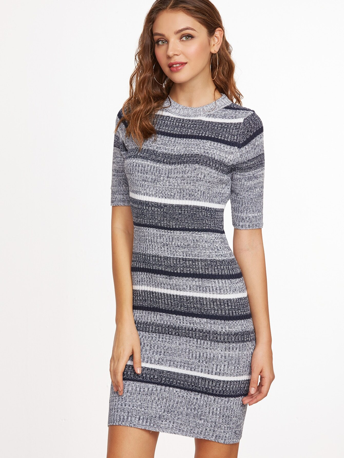 Фото Grey Striped Short Sleeve Sheath Sweater Dress. Купить с доставкой