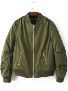 Army Green Stand Collar Zipper Pocket Padded Jacket