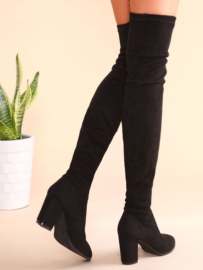 Black Point Toe Thigh High Chunky Heel Suede Boots -SheIn(Sheinside)