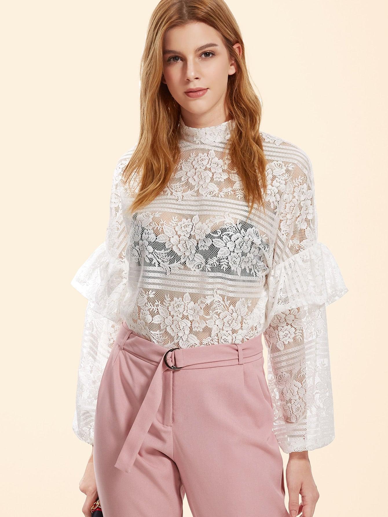 Фото High Neck Frill Trim Floral Lace Top. Купить с доставкой