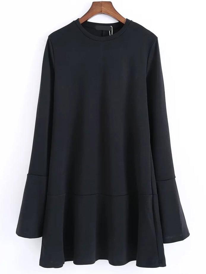 Фото Black Split Bell Sleeve Drop Waist Dress. Купить с доставкой