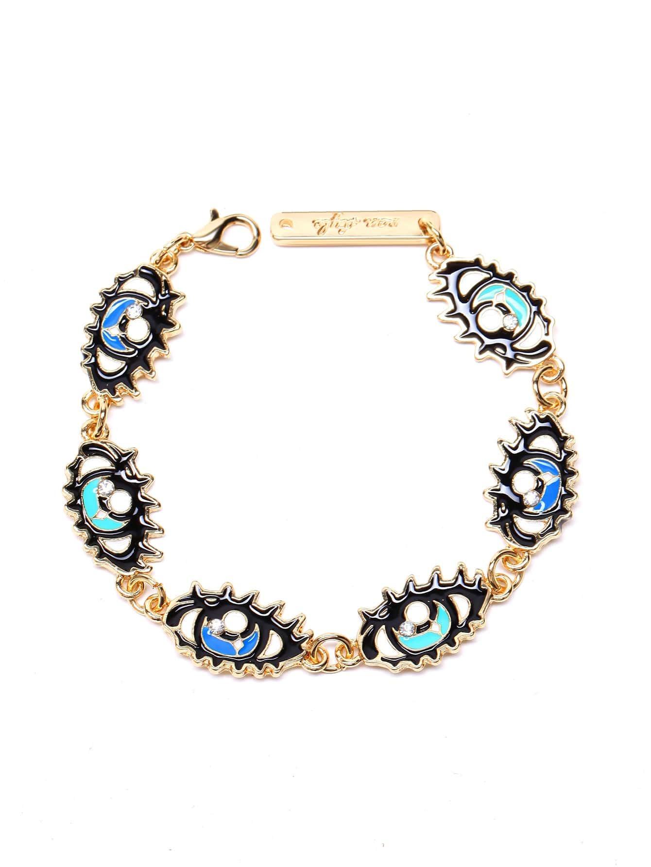 Gold Tone Eyes Linked Rhinestone Bracelet
