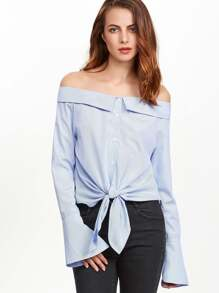 Blue Striped Knot Front Bell Cuff Off The Shoulder Blouse