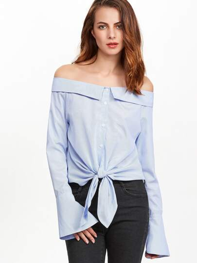 Bardot Striped Knot Front Bell Cuff Blouse