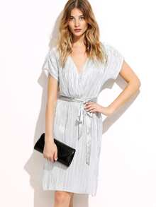 Silver Surplice Front Belted Pleated Dress