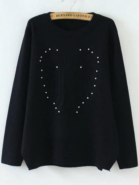 Black Beaded Round Neck Casual Sweater
