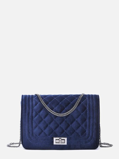 Velvet Quilted Flap Pushlock Chain Bag