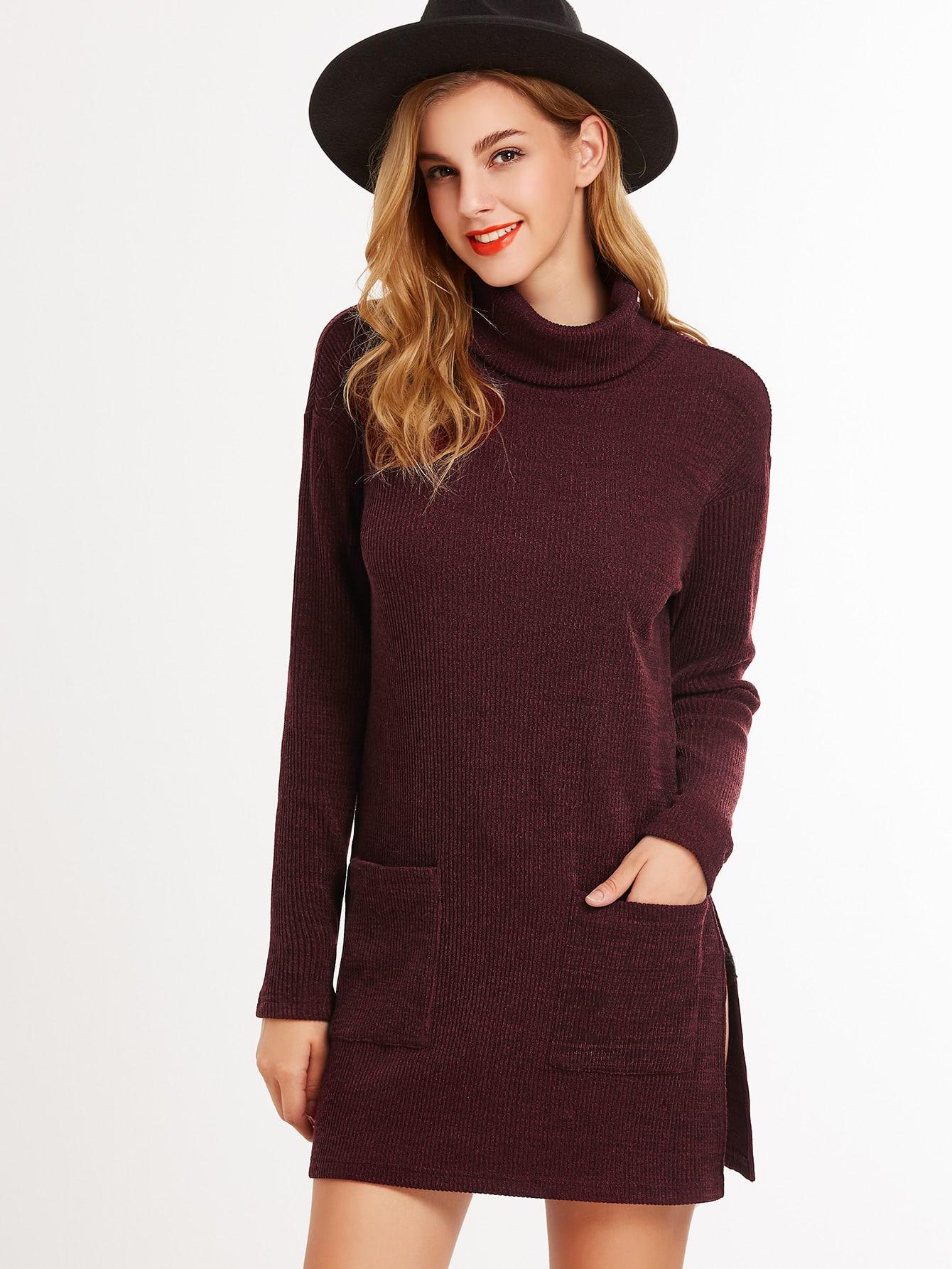 Фото Burgundy Turtleneck Side Slit Longline T-shirt With Pocket. Купить с доставкой