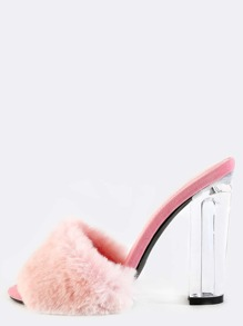 Faux Fur Clear Chunky Heels PINK
