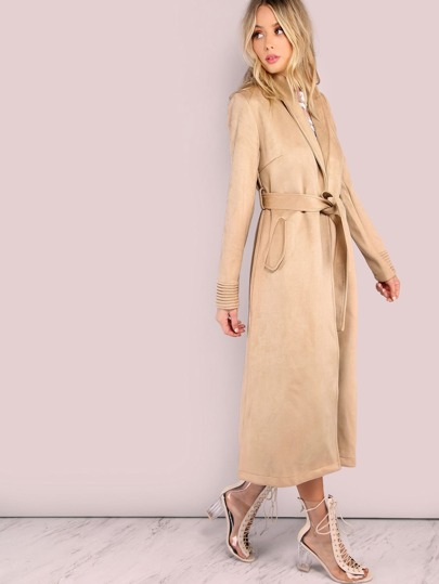 Longline Tailored Suede Coat With Self Tie