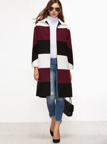 Color Block Open Front Side Slit Coat