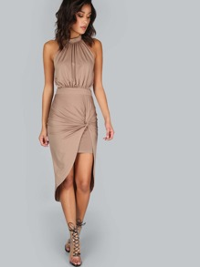 Pleated Choker Drape Dress MOCHA