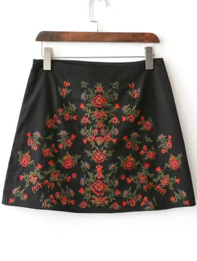 Falda con bordado floral y cremallera - negro