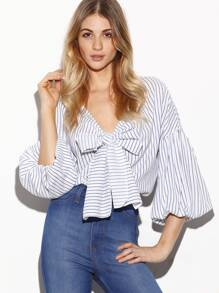 White Vertical Striped Bow Tie Front Lantern Sleeve Blouse