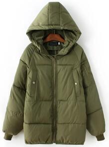 Army Green Zipper Hooded Padded Coat
