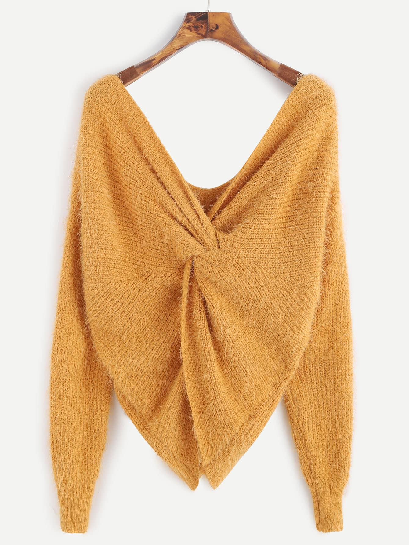 Yellow Double V Neck Knotted Back Fuzzy SweaterYellow Double V Neck Knotted Back Fuzzy Sweater<br><br>color: Yellow<br>size: one-size