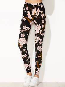 Leggings Stampa Floreale - Nero