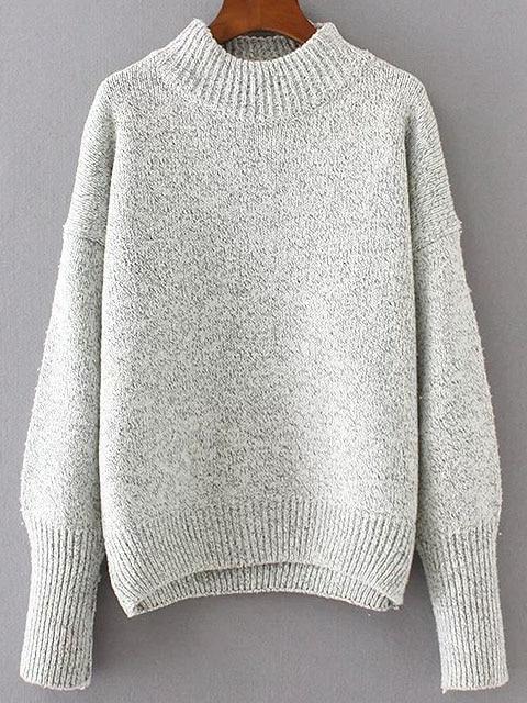 Grey Crew Neck Drop Shoulder Seam Sweater sweater161114211