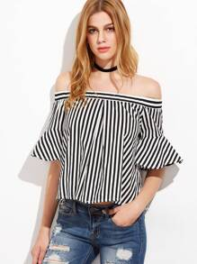 Black And White Striped Ruffle Sleeve Off The Shoulder Top