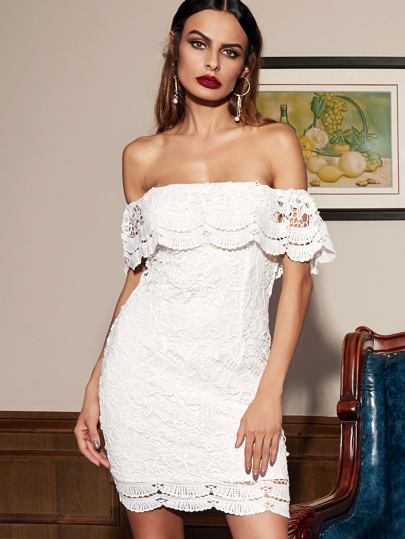 White Straight Across Lace Ruffle Bodycon Dress