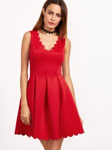 Red Scallop Edge Double V Neck Box Pleated Skater Dress