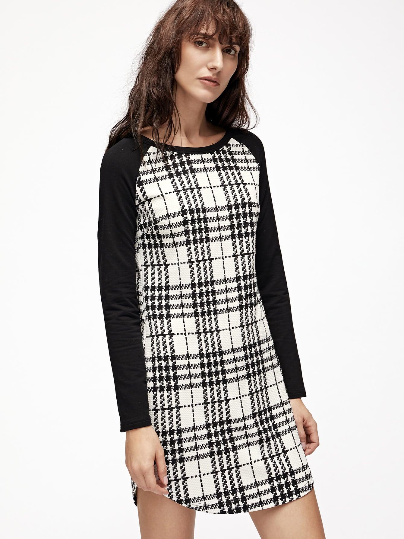 Фото White Plaid Contrast Raglan Sleeve Curved Hem Dress. Купить с доставкой