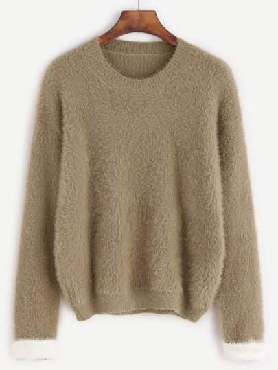 Khaki Drop Shoulder Fuzzy Sweater