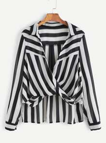 Black And White Striped Drape Front High Low Blouse