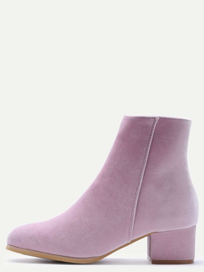 Pink Velvet Side Zipper Chunky Heel Booties