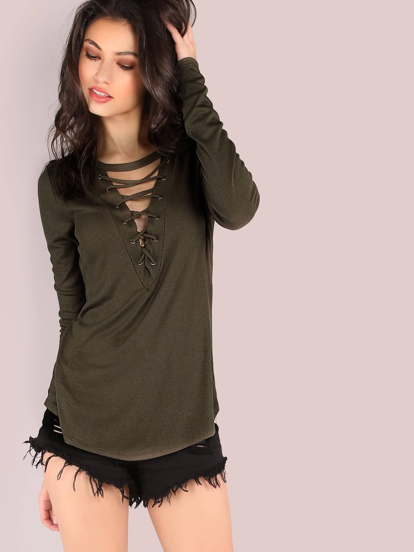 Deep V Lace Up Long Sleeve Ribbed Top OLIVE mmctop-m3116t-olive