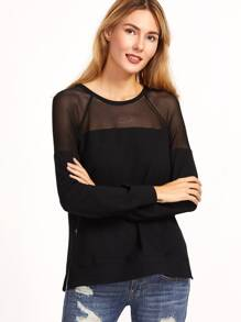 Black Mesh Yoke Zip Slit Side Sweatshirt