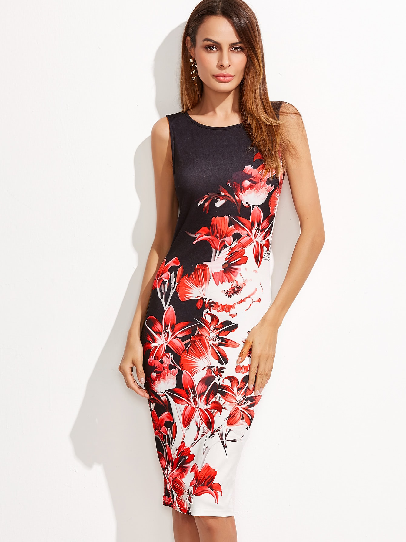 Фото Multicolor Flower Print Sleeveless Pencil Dress. Купить с доставкой